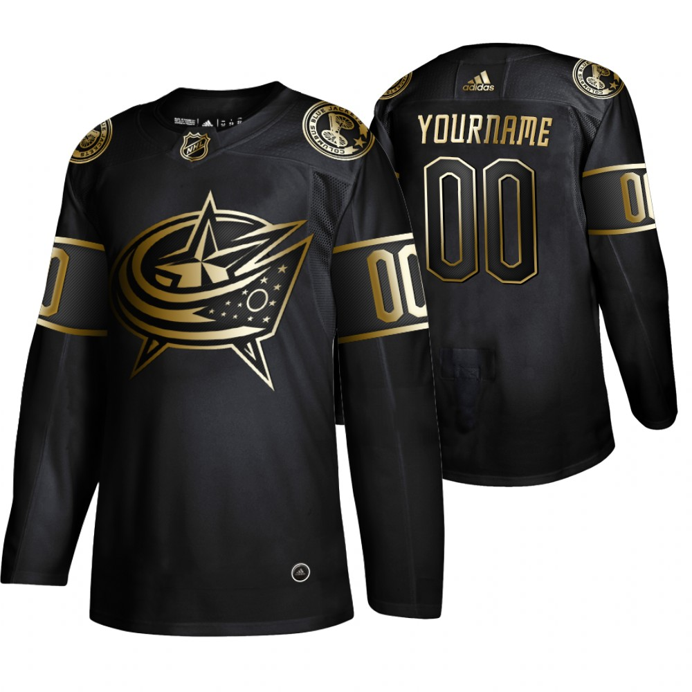 Wholesale Adidas Blue Jackets Custom Men 2019 Black Golden Edition Authentic Stitched NHL Jersey
