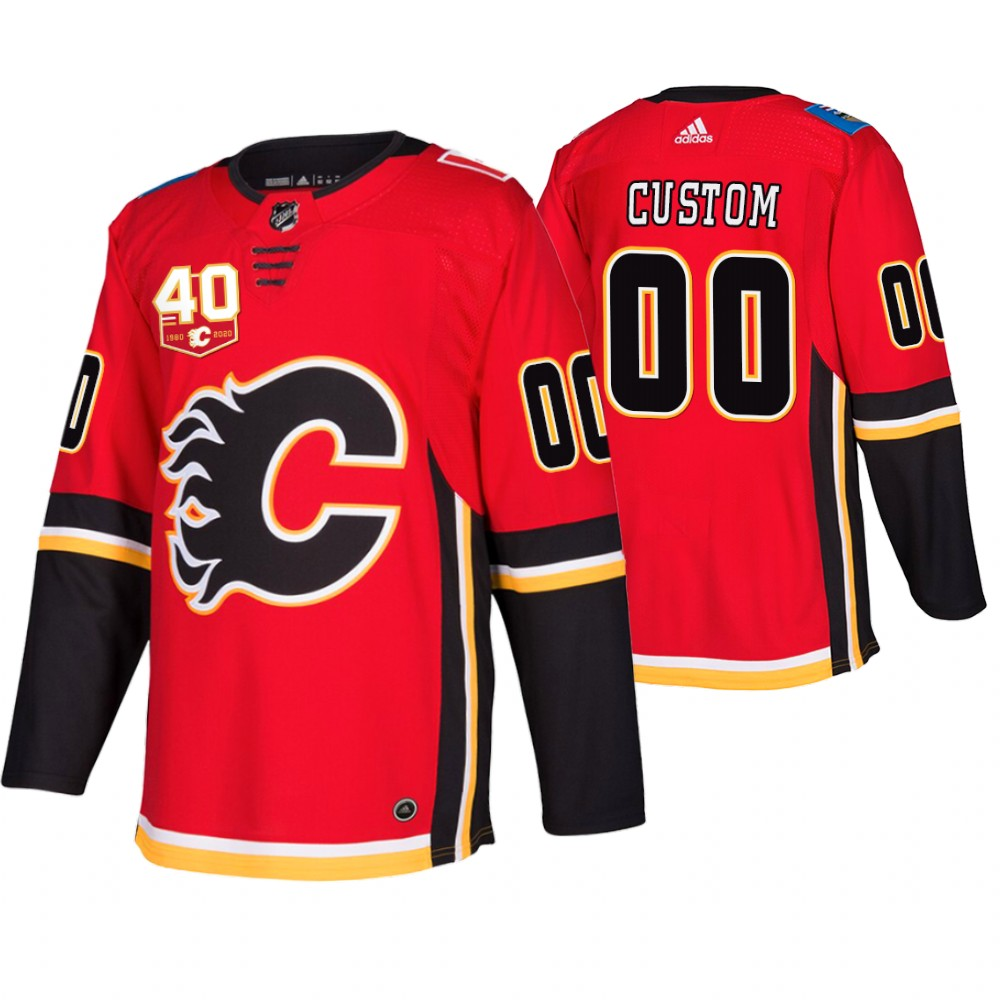 Wholesale Adidas Calgary Flames Custom 40th Anniversary Third Red 2019-20 NHL Jersey