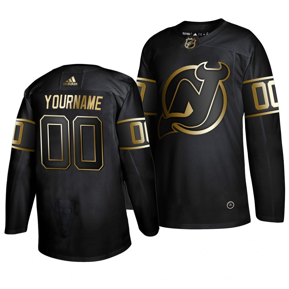 Cheap Adidas Devils Custom Men 2019 Black Golden Edition Authentic Stitched NHL Jersey