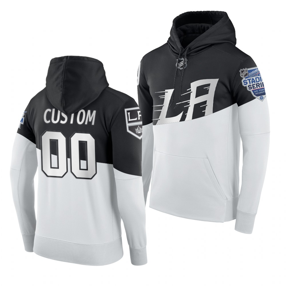 Wholesale Adidas Los Angeles Kings Custom Men 2020 Stadium Series White Black NHL Hoodie