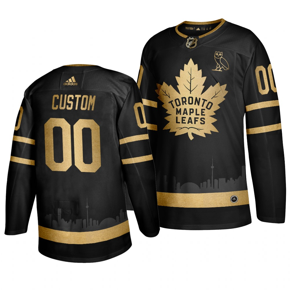 Wholesale Adidas Maple Leafs Custom Men 2019 Black Golden Edition OVO Branded Stitched NHL Jersey