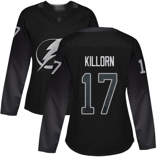 Cheap Adidas Tampa Bay Lightning 17 Alex Killorn Black Alternate Authentic Women Stitched NHL Jersey