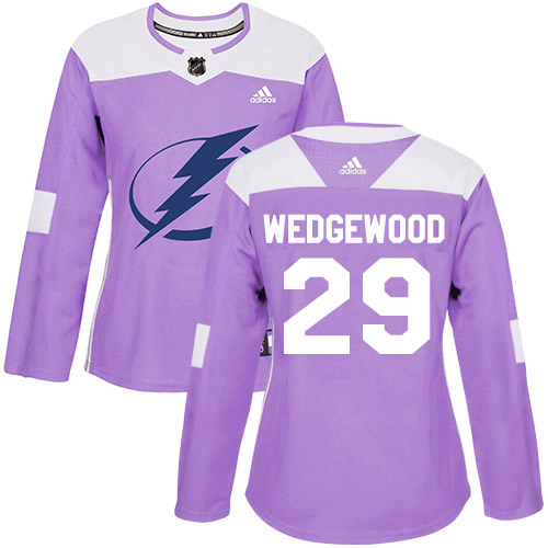 Cheap Adidas Tampa Bay Lightning 29 Scott Wedgewood Purple Authentic Fights Cancer Women Stitched NHL Jersey