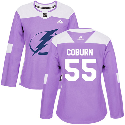 Cheap Adidas Tampa Bay Lightning 55 Braydon Coburn Purple Authentic Fights Cancer Women Stitched NHL Jersey