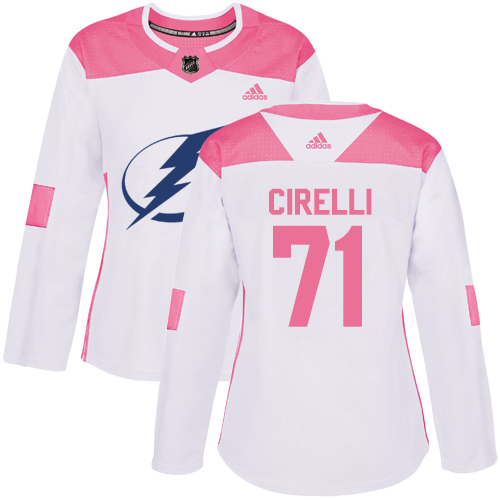 Cheap Adidas Tampa Bay Lightning 71 Anthony Cirelli White Pink Authentic Fashion Women Stitched NHL Jersey