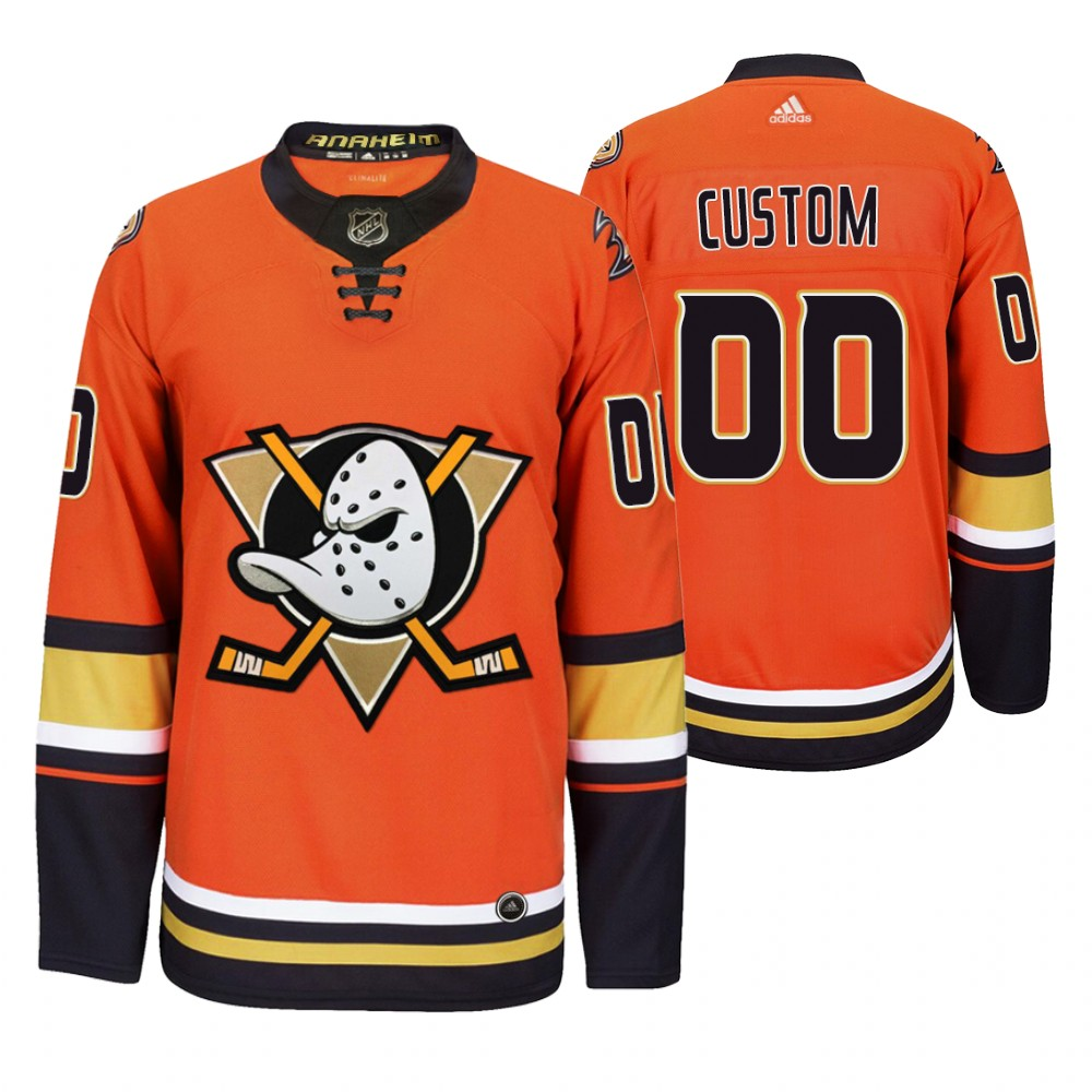 Cheap Anaheim Ducks Custom Men 2019-20 Third Orange Alternate Stitched NHL Jersey