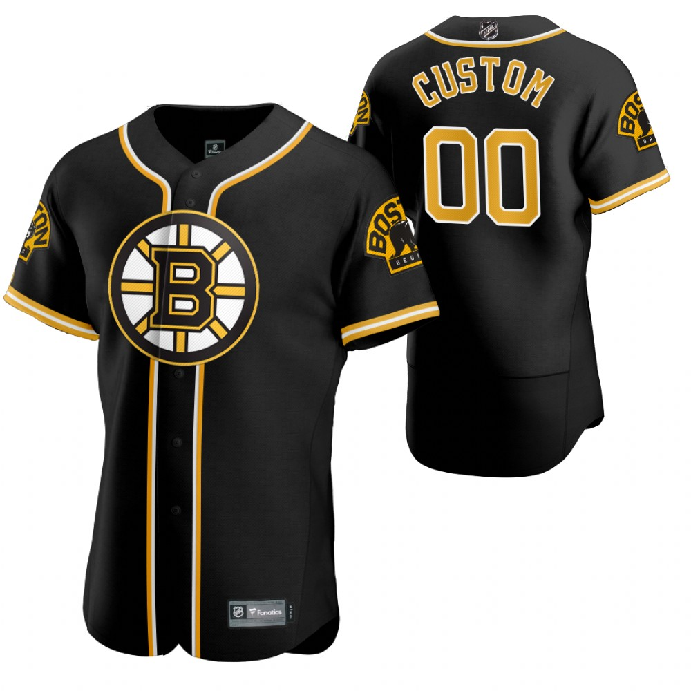 Wholesale Boston Bruins Custom Men 2020 NHL x MLB Crossover Edition Baseball Jersey Black
