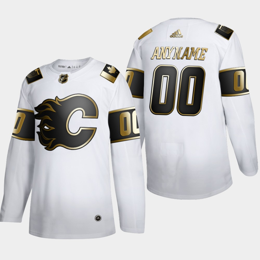 Wholesale Calgary Flames Custom Men Adidas White Golden Edition Limited Stitched NHL Jersey