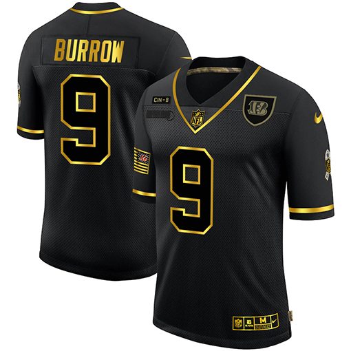Cheap Cincinnati Bengals 9 Joe Burrow Men Nike 2020 Salute To Service Golden Limited NFL black Jerseys