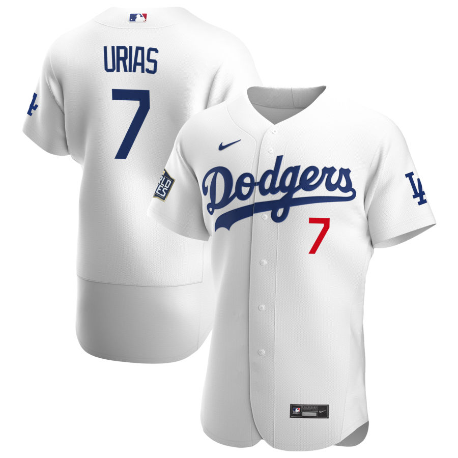 Cheap Los Angeles Dodgers 7 Julio Urias Men Nike White Home 2020 World Series Champions Authentic Player MLB Jersey