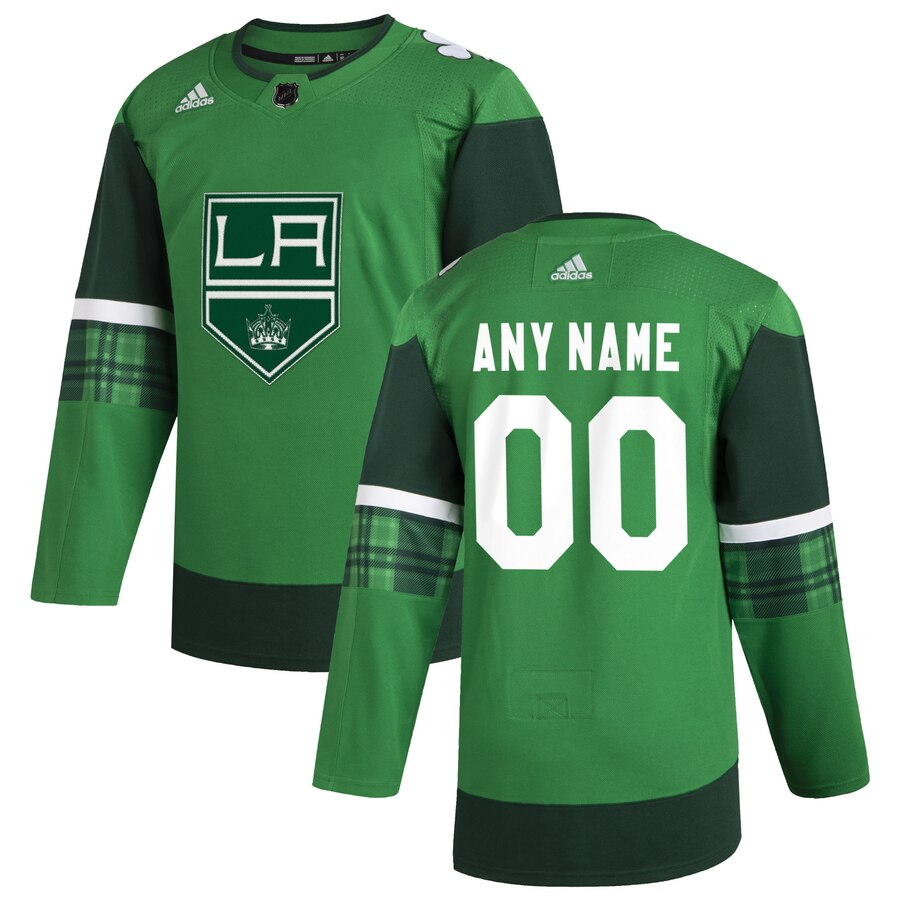 Wholesale Los Angeles Kings Men Adidas 2020 St. Patrick Day Custom Stitched NHL Jersey Green