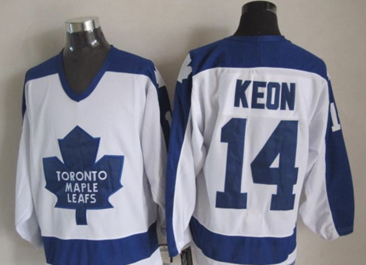 Wholesale Custom Men Maple Leafs Jersey 14 Dave Keon White Blue CCM Throwback Stitched NHL Jerseys