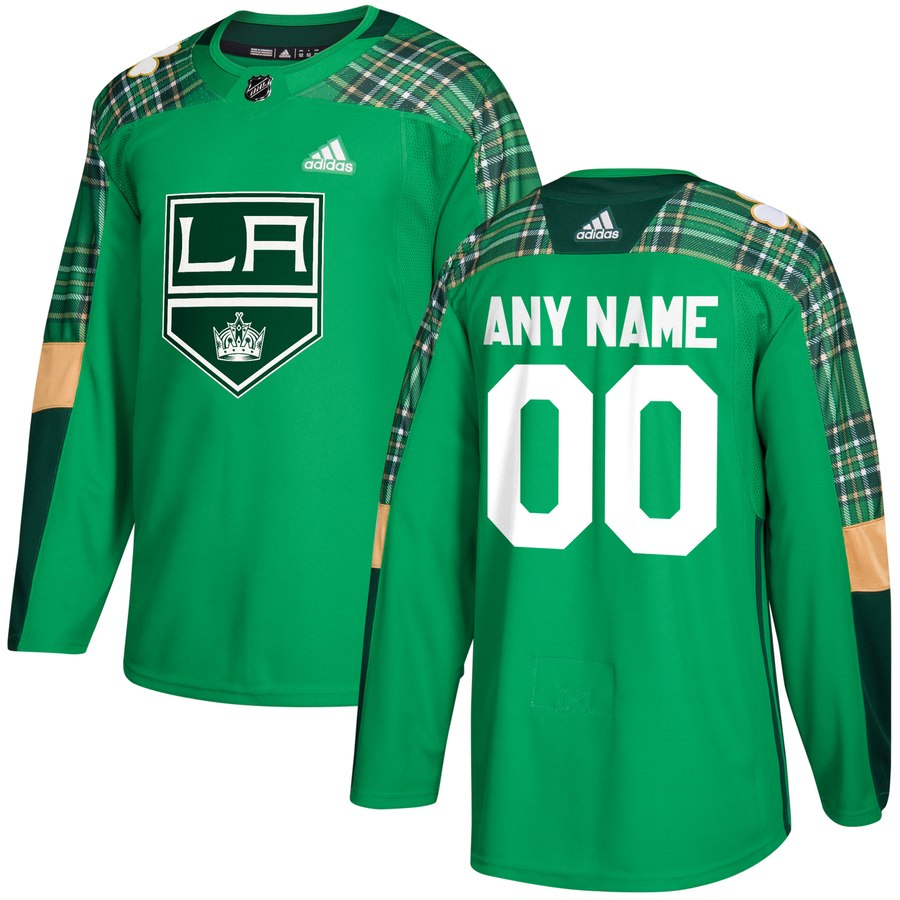 Wholesale Men Adidas Los Angeles Kings Personalized Green St. Patrick Day Custom Practice NHL Jersey