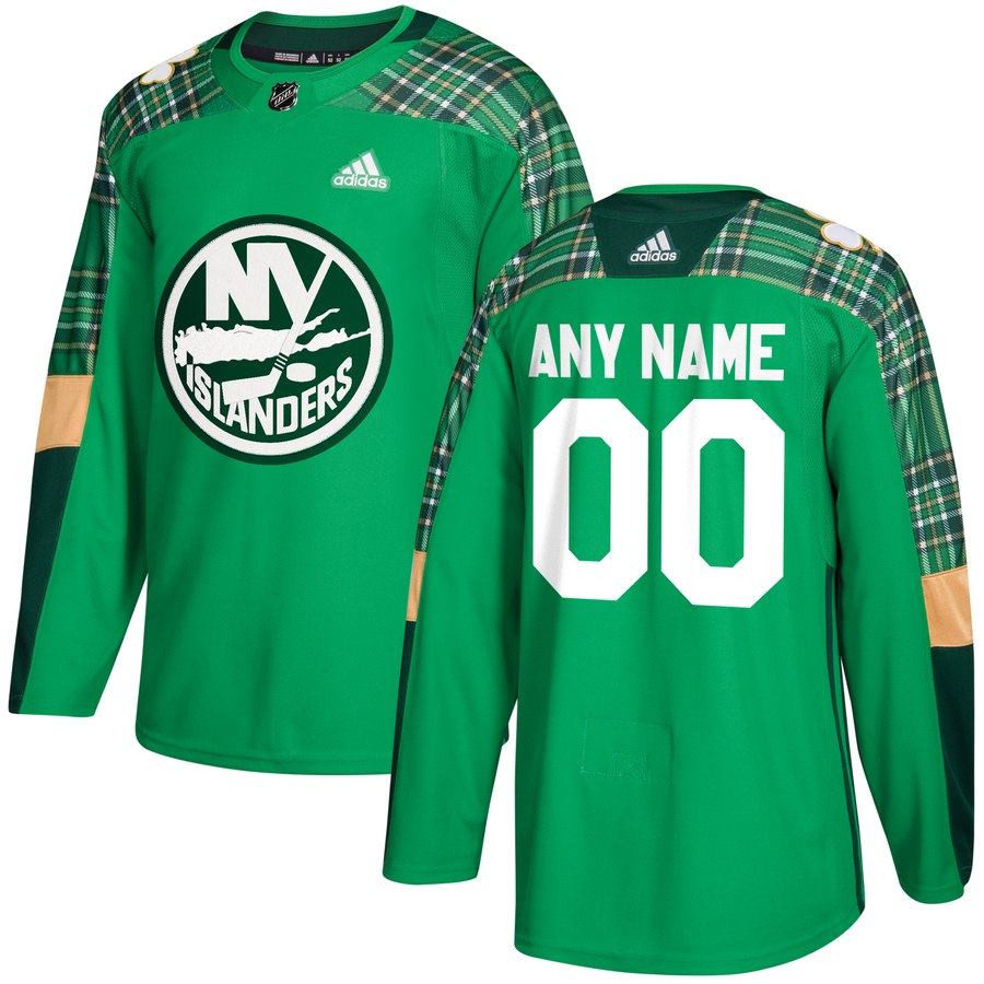 Wholesale Men Adidas New York Islanders Personalized Green St. Patrick Day Custom Practice NHL Jersey