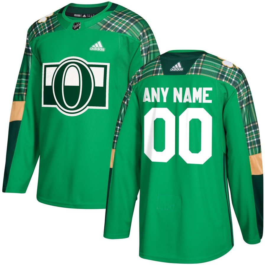Wholesale Men Adidas Ottawa Senators Personalized Green St. Patrick Day Custom Practice NHL Jersey