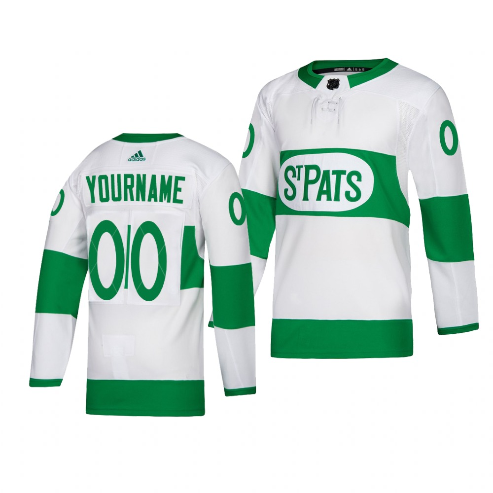 Wholesale Men Adidas Toronto Maple Leafs Personalized White St. Patrick Day Authentic Player Custom Practice NHL Jersey