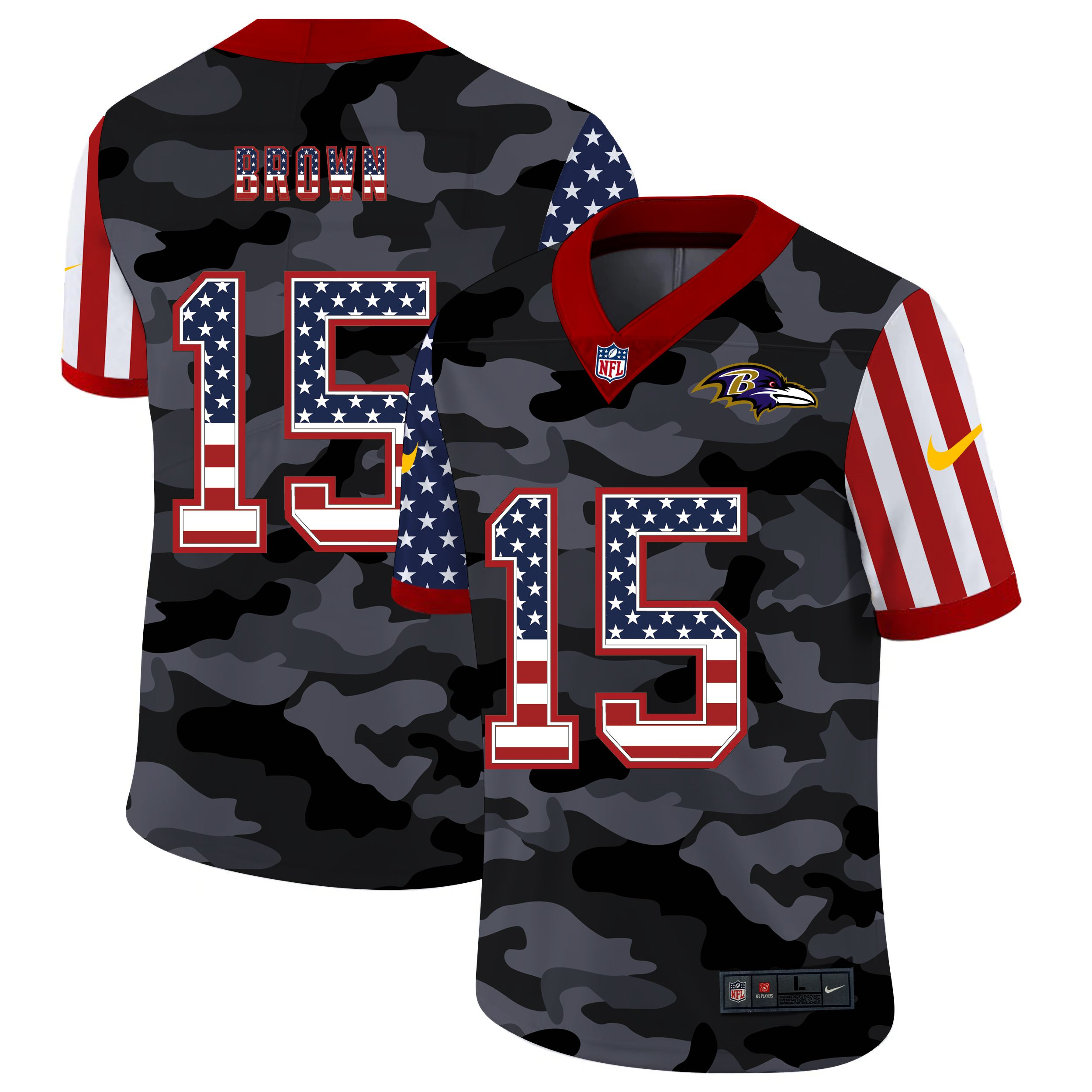 Men Baltimore Ravens 15 Brown 2020 Nike USA Camo Salute to Service Limited NFL Jerseys