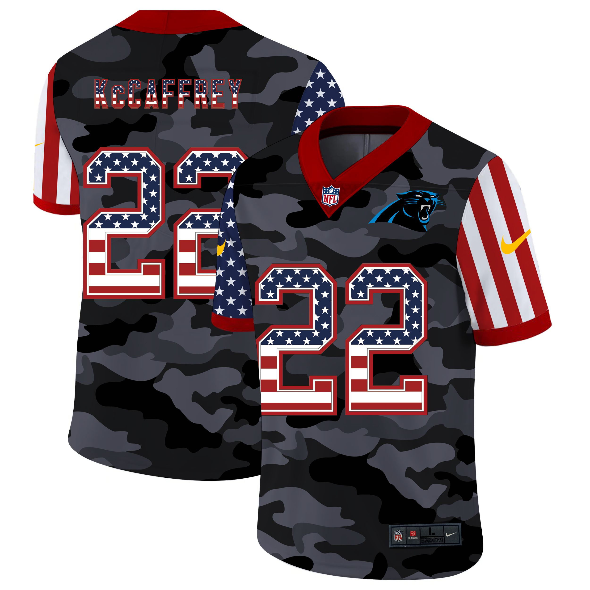 Cheap Men Carolina Panthers 22 McCaffrey 2020 Nike USA Camo Salute to Service Limited NFL Jerseys