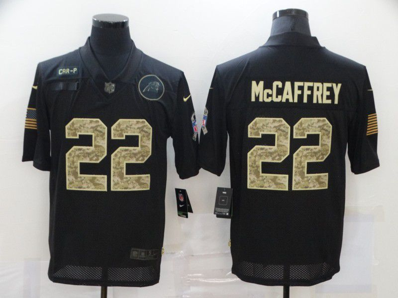Cheap Men Carolina Panthers 22 Mccaffrey Black camo Lettering 2020 Nike NFL Jersey