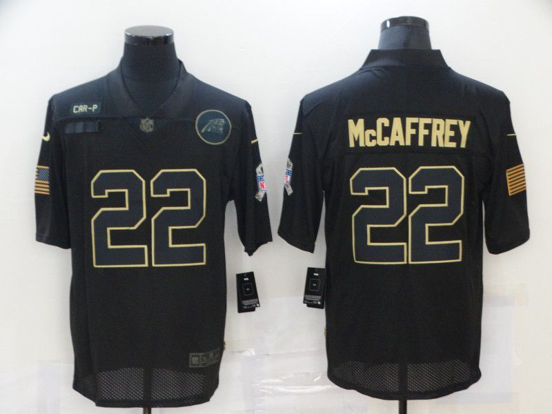 Cheap Men Carolina Panthers 22 Mccaffrey Black gold lettering 2020 Nike NFL Jersey
