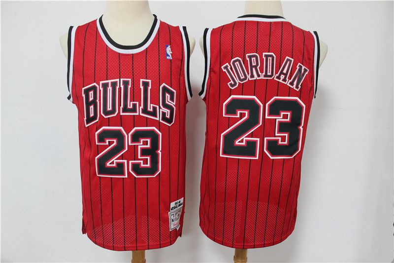 Cheap Men Chicago Bulls 23 Jordan red black stripe Classic retro Limited Edition NBA Jerseys