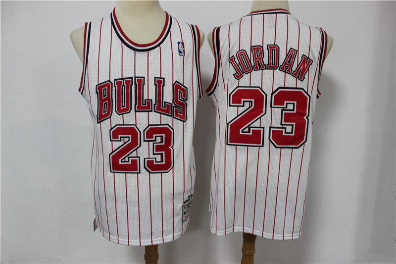 Cheap Men Chicago Bulls 23 Jordan white red stripe Classic retro Limited Edition NBA Jerseys