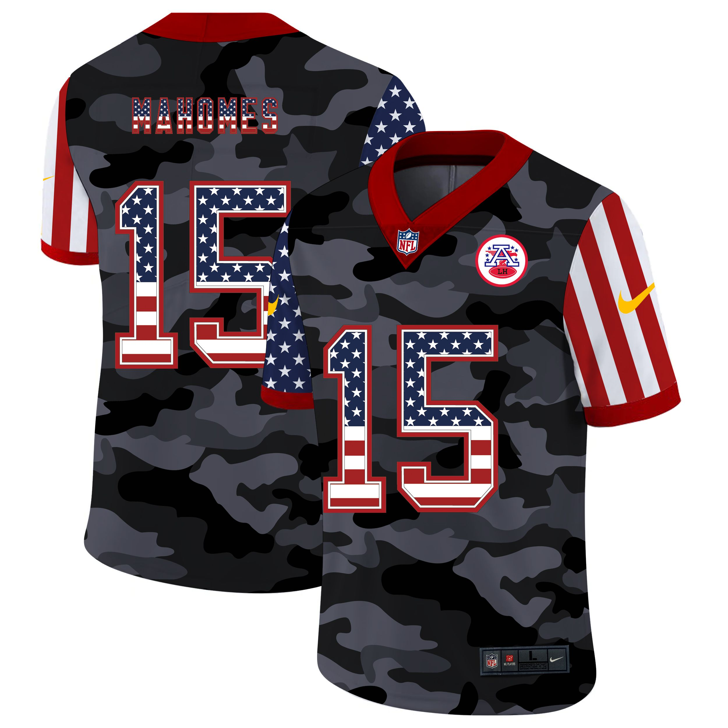 Men Kansas City Chiefs 15 Mahomes 2020 USA Nike Camo Salute to Service Limited NFL Jerseys