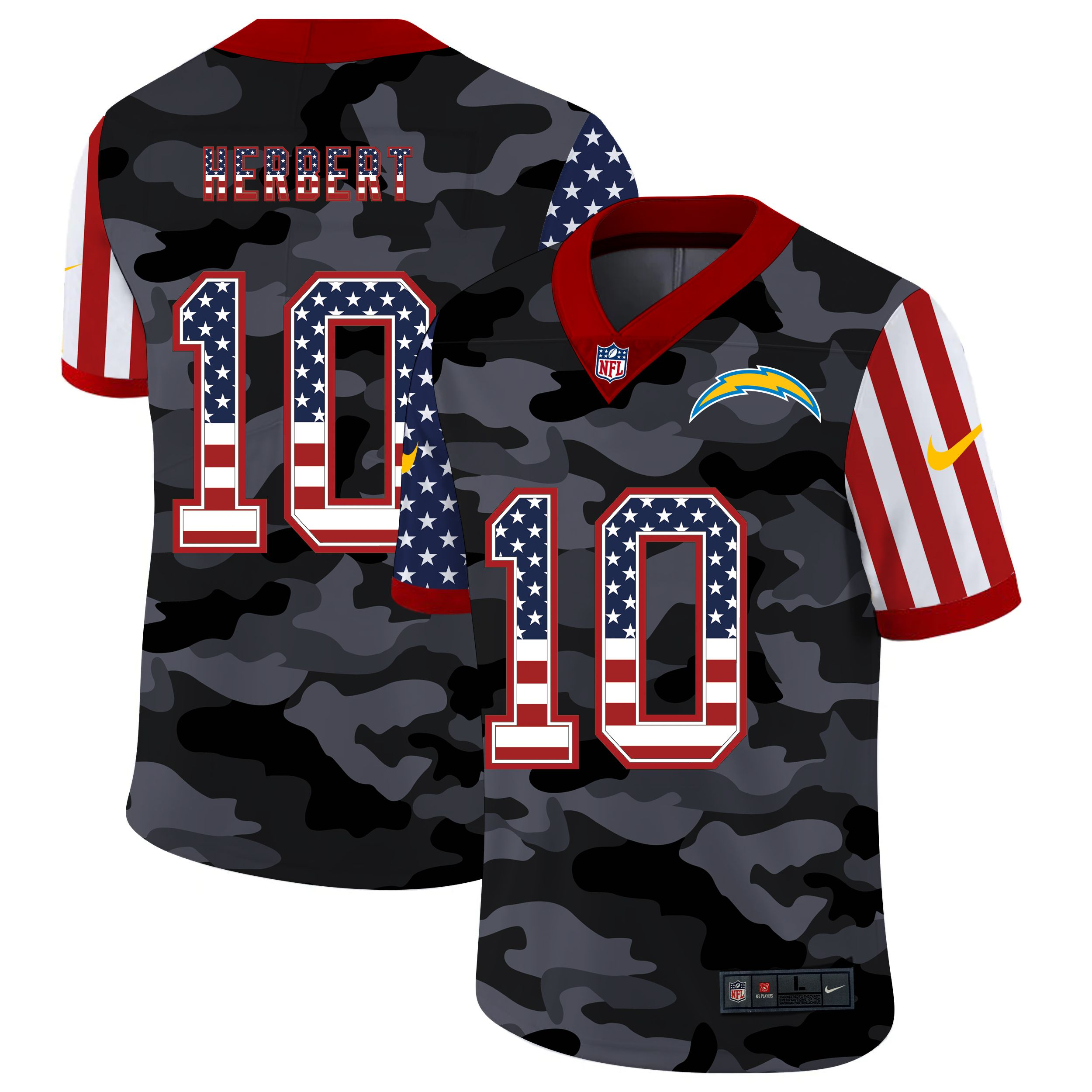 Wholesale Men Los Angeles Chargers 10 Herbert 2020 Nike USA Camo Salute to Service Limited NFL Jerseys