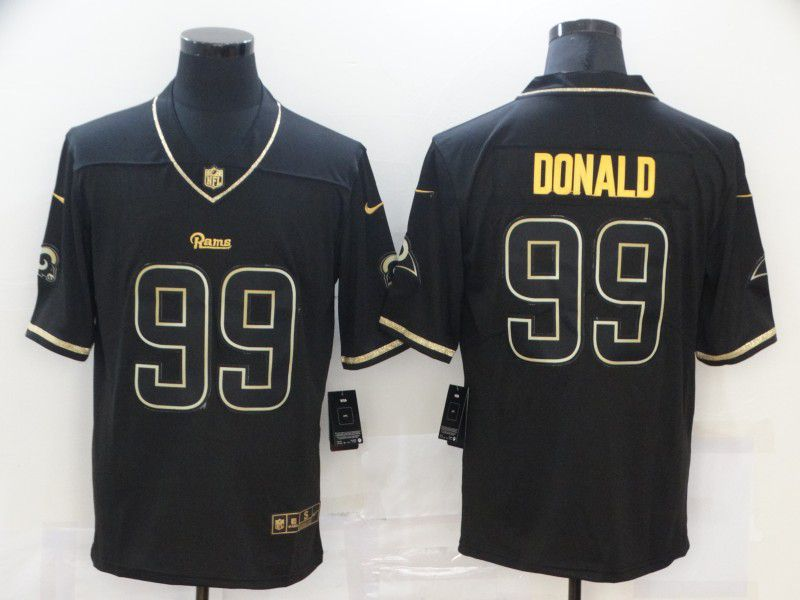 Wholesale Men Los Angeles Rams 99 Donald Black gold lettering 2020 Nike NFL Jersey