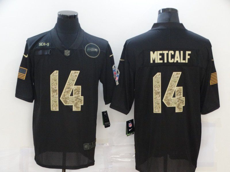 Wholesale Men Seattle Seahawks 14 Metcalf Black camo Lettering 2020 Nike NFL Jersey