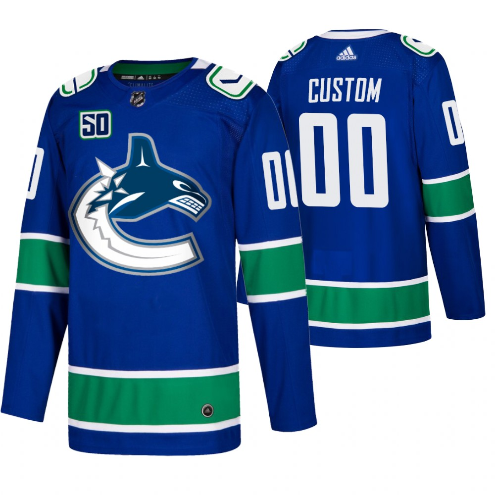 Cheap Men Vancouver Canucks Custom Adidas Blue 2019-20 Home Authentic NHL Jersey
