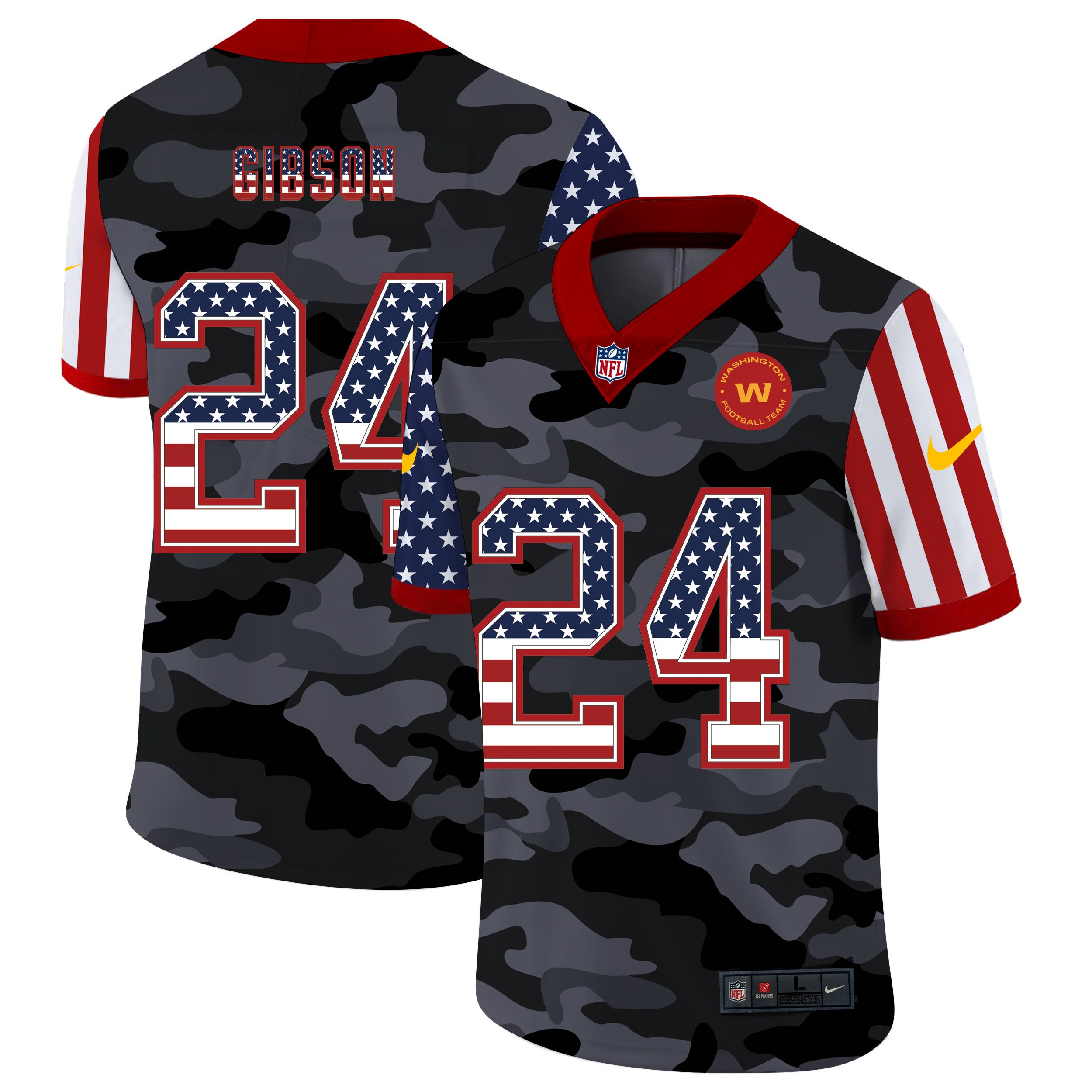 Wholesale Men Washington Redskins 24 Norman 2020 Nike USA Camo Salute to Service Limited NFL Jerseys