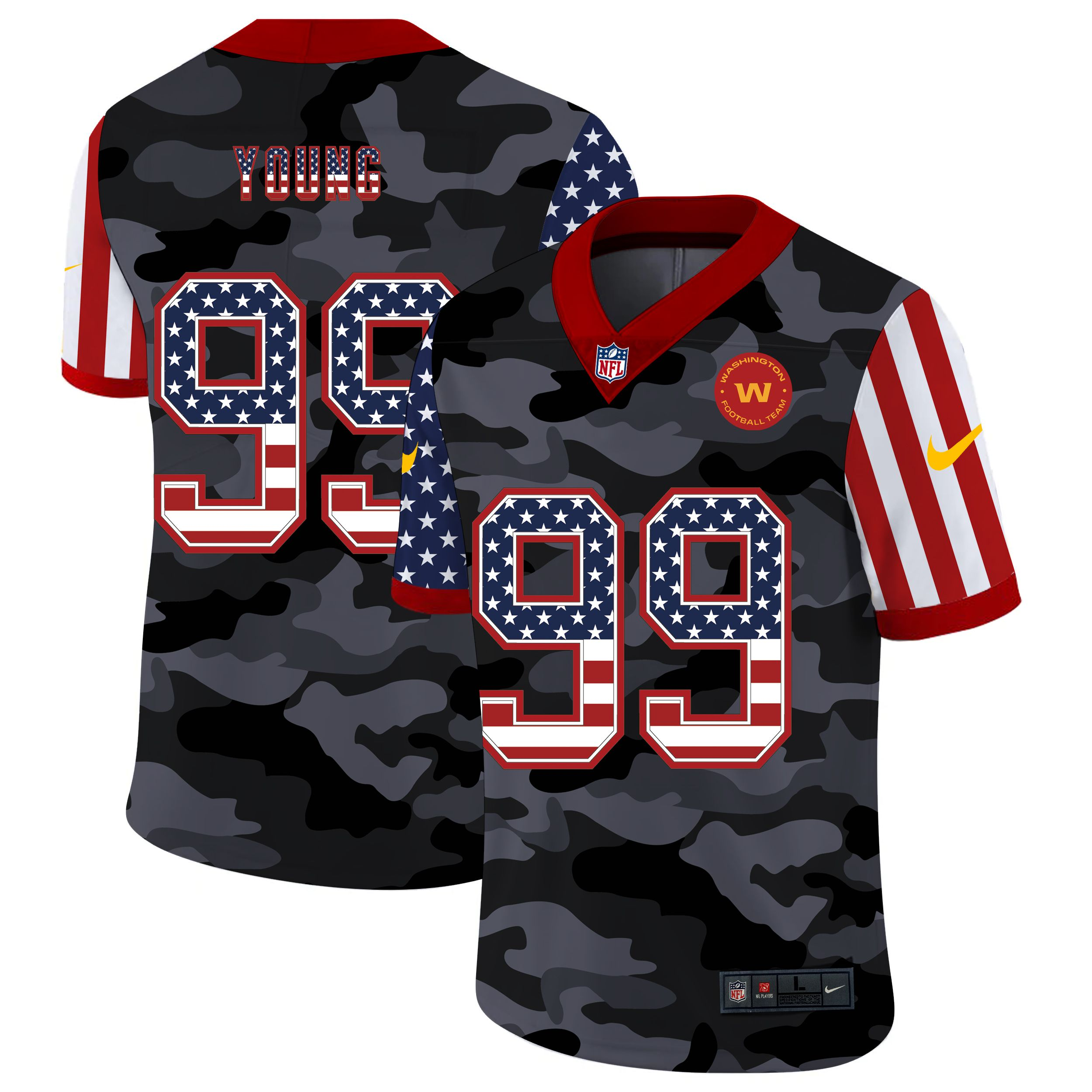 Wholesale Men Washington Redskins 99 Young 2020 Nike USA Camo Salute to Service Limited NFL Jerseys