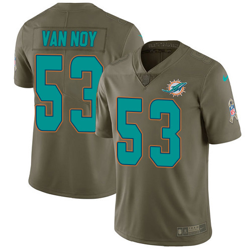 Wholesale Miami Dolphins 53 Kyle Van Noy Olive Men Stitched NFL Limited 2017 Salute To Service Jersey