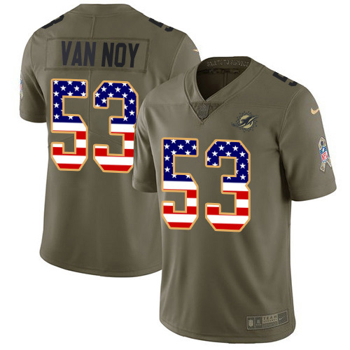 Wholesale Miami Dolphins 53 Kyle Van Noy Olive USA Flag Men Stitched NFL Limited 2017 Salute To Service Jersey