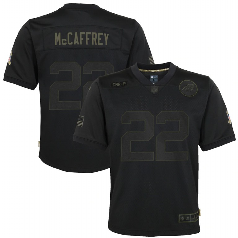 Cheap NFL Carolina Panthers 22 Christian McCaffrey Nike Youth 2020 Salute to Service Game Black jerseys