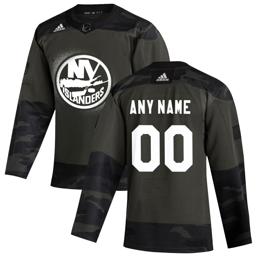 Wholesale New York Islanders Adidas 2019 Veterans Day Authentic Custom Practice NHL Jersey Camo