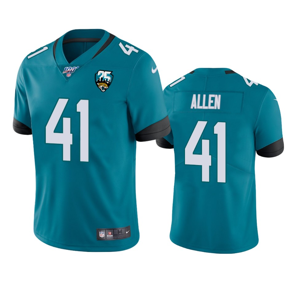 Cheap Nike Jaguars 41 Josh Allen Teal 25th Anniversary Vapor Limited Stitched NFL 100th Season Jersey