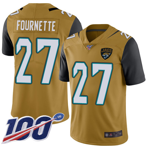 Wholesale Nike Jacksonville Jaguars 27 Leonard Fournette Gold Men Stitched NFL Limited Rush 100th Season Jersey