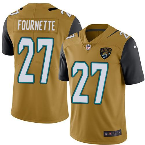 Wholesale Nike Jacksonville Jaguars 27 Leonard Fournette Gold Men Stitched NFL Limited Rush Jersey