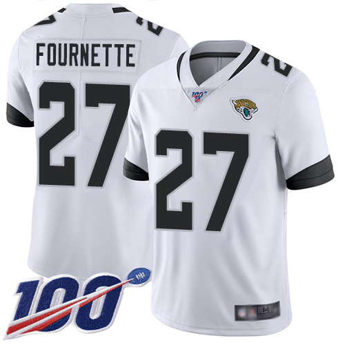 Wholesale Nike Jacksonville Jaguars 27 Leonard Fournette White Men Stitched NFL 100th Season Vapor Limited Jersey