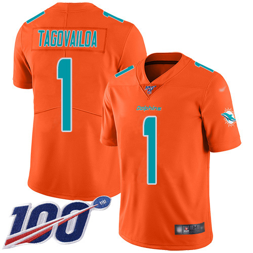Cheap Nike Miami Dolphins 1 Tua Tagovailoa Orange Youth Stitched NFL Limited Inverted Legend 100th Season Jersey