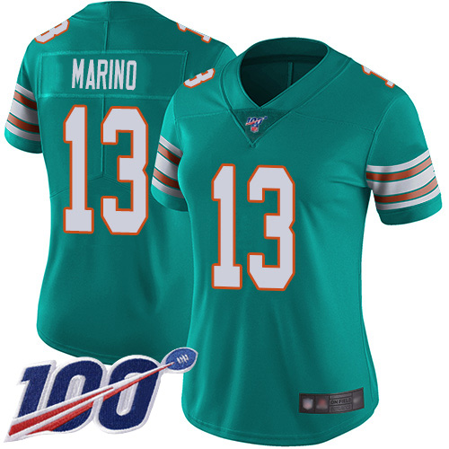 Wholesale Nike Miami Dolphins 13 Dan Marino Aqua Green Alternate Women Stitched NFL 100th Season Vapor Limited Jersey