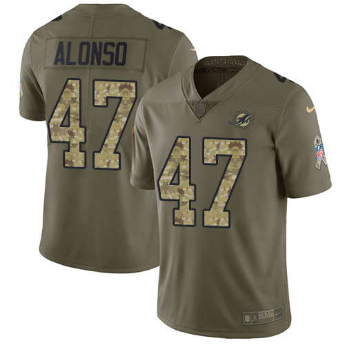 Wholesale Nike Miami Dolphins 47 Kiko Alonso Olive Camo Youth Stitched NFL Limited 2017 Salute to Service Jersey