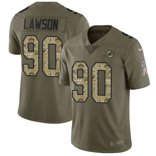 Wholesale Nike Miami Dolphins 90 Shaq Lawson Olive Camo Youth Stitched NFL Limited 2017 Salute To Service Jersey