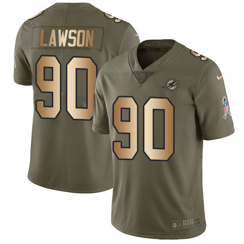 Wholesale Nike Miami Dolphins 90 Shaq Lawson Olive Gold Youth Stitched NFL Limited 2017 Salute To Service Jersey