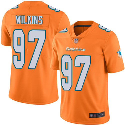 Wholesale Nike Miami Dolphins 97 Christian Wilkins Orange Youth Stitched NFL Limited Rush Jersey