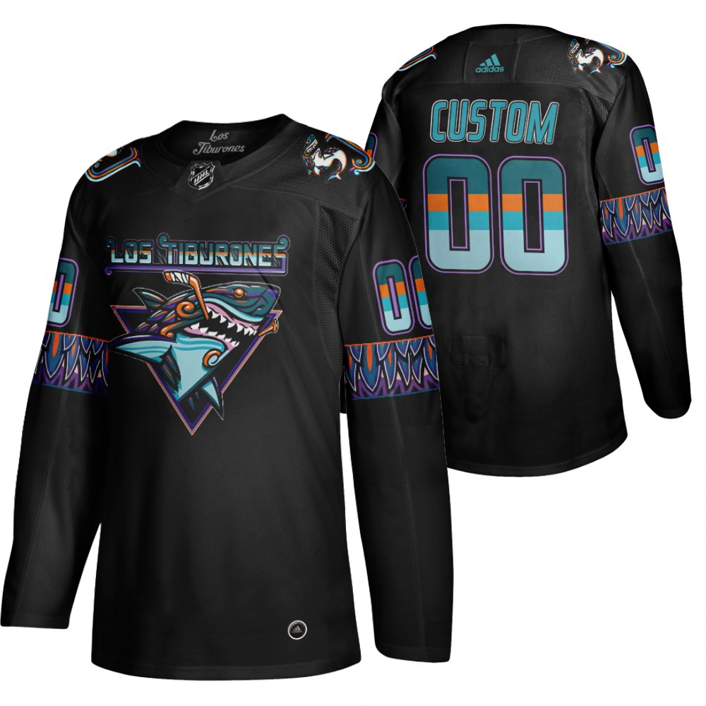 Cheap San Jose Sharks Custom Men Adidas 2020 Los Tiburones Limited NHL Jersey Black
