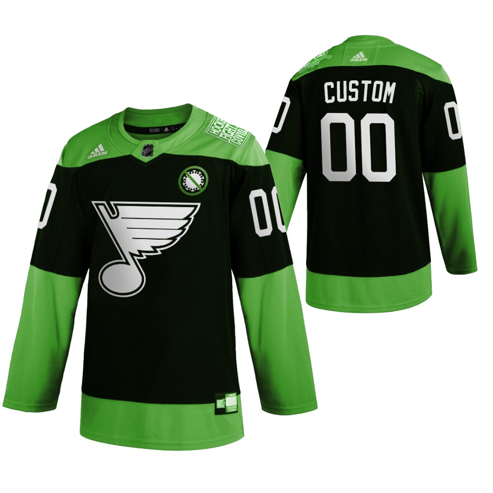 Wholesale St. Louis Blues Custom Men Adidas Green Hockey Fight nCoV Limited NHL Jersey