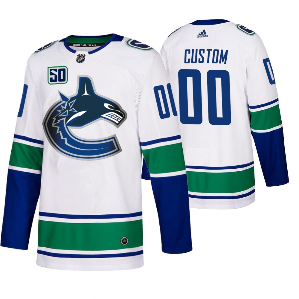 Cheap Vancouver Canucks Custom 50th Anniversary Men White 2019-20 Away Authentic NHL Jersey